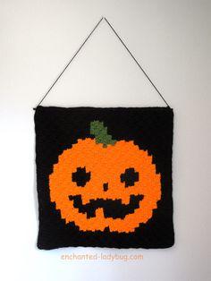 Free Halloween Jack 'o Lantern Graph Design for Crochet Corner to Corner Wall Hanging Decoration