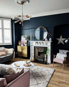 Rooms navy and white living room, navy living rooms, blue curtains Navy Living Rooms, Blue Living Room Decor, Living Room Grey, Home Living Room, Living Room Designs, 1930s House Interior Living Rooms, Navy And White Living Room, Dark Blue Rooms, 1930s Living Room