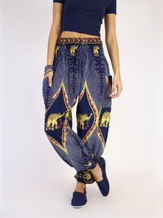 Save elephants with the most comfortable pants you've ever worn! Our Rapsu Dark Blue women's harem pant has quickly become one of our top-selling pants. - Navy and gold bohemian elephant harem pants f