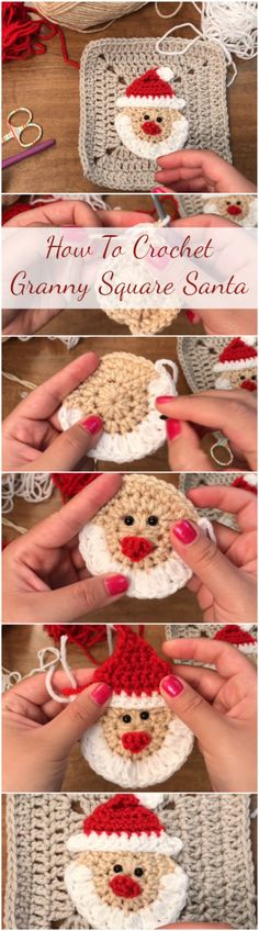 Learn to crochet granny square stitch Santa for Christmas ornaments, gifts etc. by following this step by step tutorial for beginners with a free video! | Beginners Crochet Video Tutorials Youtube | Crochet Stitches | Free Patterns | Free Projects & Ideas | Free Basic Stitches | Easy & Simple Video Tutorials | Top And Unique Stitches | Christmas amigurumi & applique & Decorations | Quick Vintage Free Tags | Knitting Hats Sweater Cover Blanket Holidays