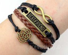 bronze best friend bracelet rose flower bracelet by handworld, $5.59