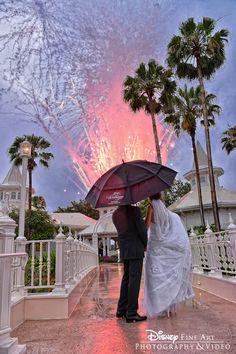 Private fireworks display at Disney's Wedding Pavilion in Walt Disney World.