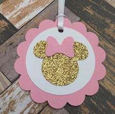 Items similar to 25 Tags; Scallop Tag with Ribbon; twodles on Etsy : 25 Tags Scallop Tag with Ribbon Minnie Minni ears pink and Minnie Mouse 1st Birthday, Minnie Mouse Theme, Minnie Mouse Baby Shower, Baby Girl 1st Birthday, Flamingo Birthday, 1st Birthday Parties, Miki Mouse, Happy Birthday Cake Topper, Pink Cards