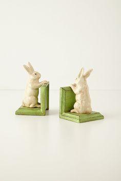Handpainted Bunny Bookends - Alice in Wonderland inspired baby room