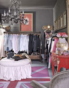 Ultimate Home Indulgence:   Old Rule: Have a guest room double as an office or den. New Rule: Turn the room into a single indulgence, like a walk-in closet. The house's second bedroom is used as a dressing area. Carney covered the ottoman in pink denim from Walmart and spray-painted an outdoor rug. Photo Credit: Bjorn Wallander