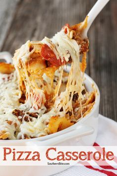Bowtie pasta, pizza sauce, ground beef, sausage, cheese, and your favorite pizza toppings make this a family favorite!