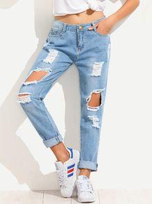 Blue Distressed Boyfriend Jeans
