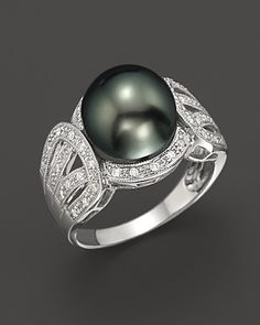 Cultured Tahitian Black Pearl and Diamond Ring in 14K White Gold