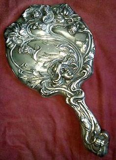 Art Nouveau Sterling Silver Hand Mirror Wm Kerr Sterling