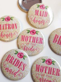 Gold Glitter and Pink Peony - Bridal Shower/Bachelorette Pins (pack of 7) by ScarlettWedding on Etsy https://www.etsy.com/listing/289458051/gold-glitter-and-pink-peony-bridal