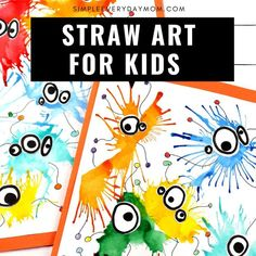 This simple art project for kids is a fun and easy way to get their creativity flowing. It uses paint and a straw to  make unique art. It's great for preschool, prek and elementary students.