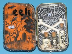 Ink Stains: Altered Candy Tin Swap Results Ink Stains, Rubber Stamping, Alters, Ink Art, Halloween Crafts, Altered Art, Cardmaking, Tin, Scrapbook