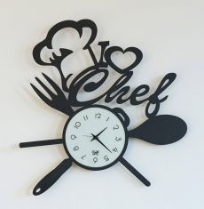 Relojes Originales para Cocina : Modelo I LOVE CHEF Clock Art, Diy Clock, Laser Art, Laser Cut Wood, Dremel, Diy Home Crafts, Wood Crafts, Vinyl Record Art, Kitchen Clocks