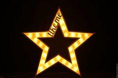 Купить Большая звезда с лампочками - буквы с лампочками, буквы, буквы для интерьера, буквы для фотосессии