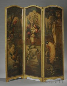 Painted Three-panel Floor Screen