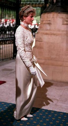Princess Diana, October 31, 1991: arrives for the State Opening of Parliament at the Sovereign's entrance, Palace of Westminster.