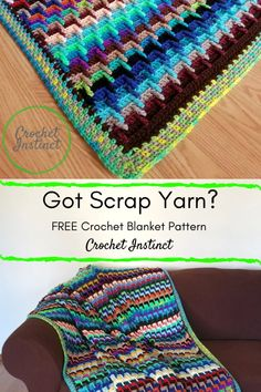 FREE Scrap Yarn Blanket Crochet Pattern FREE Scrap Yarn Blanket Crochet Pattern,Crochet Scrap Yarn Stash-Buster Blanket Free Crochet Pattern – Crochet Instinct There are images of the best DIY designs in the world. Crochet Afghans, Afghan Crochet Patterns, Crochet Stitches, Knitting Patterns, Blanket Crochet, Chevron Blanket, Crocheted Blankets, Needlepoint Stitches, Needlework