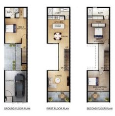would reduce the EG bedroom to a storage and mud room, while creating a portion of covered outdoor space for dining under the kitchen on the floor. Narrow House Designs, Narrow House Plans, Small House Design, House Floor Plans, Terrace Building, Studio Layout, Architecture Plan, Fashion Architecture, Terrace Design