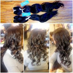 "We added 2 more bundles of 18"" &""14 #indiquehair to her 16"" &""14.. Pure wavy & we colored it"