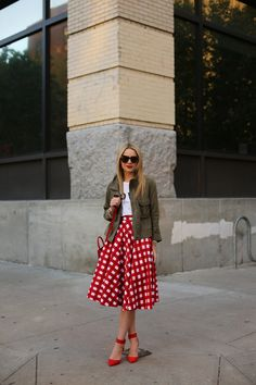 loving that bright midi skirt