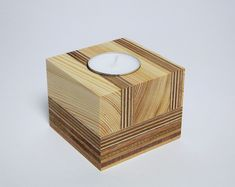 Reclaimed Wood Tea Light Holder - This beautiful handmade tealight holder was made only from cuts or reclaimed pieces of wood (includ - Wood Tea Light Holder, Modern Candle Holders, Candle Holder Decor, Easy Wood Projects, Woodworking Crafts, Woodworking Beginner, Woodworking Organization, Woodworking Garage, Woodworking Logo