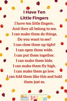 A favorite finger play and action rhyme for story times of all ages! Preschool Poems, Nursery Rhymes Preschool, Kindergarten Songs, Kids Poems, Preschool Music, Preschool Classroom, Preschool Learning, Fingerplays For Preschoolers, Children Songs