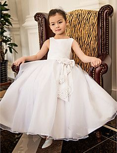 A-line Square Tea-length Satin And Oganza Wedding/Party Flower Girl Dress(More Colors)