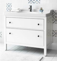 HEMNES two drawer cabinet adds storage space in your bathroom!