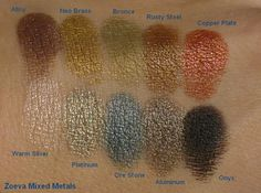 Zoeva Mixed Metals palette - swatches