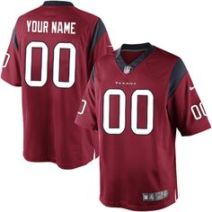 Nike Limited Red Men's Jersey - Customized Houston Texans NFL Alternate