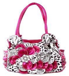 handbagsblingmore.com Leopard Print Pink Flower Rhinestone Fashion Purse