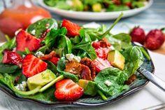 Strawberry and Avocado Spinach Salad in Raspberry Balsamic Vinaigrette Recipe : A fresh summer strawberry and baby spinach salad with avocado and bacon in a raspberry vinaigrette that just screams summer! Avocado Spinach Salad, Baby Spinach Salads, Spinach Strawberry Salad, Healthy Snacks, Healthy Eating, Healthy Recipes, Healthy Cooking, Fruit Recipes, Salad Recipes