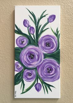 Newest Pics Purple Flowers painting Concepts Purple flowers are noble flowers. They're lavish and expensive, fashionable as well as boheme. This post wi Easy Canvas Painting, Simple Acrylic Paintings, Acrylic Art, Diy Painting, Painting & Drawing, Canvas Art, Easy Flower Painting, Acrylic Painting Flowers, Flowers On Canvas