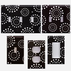 Black and White Modern Dots Starburst Fireworks Decor Light Switch Plates, Wall Outlet Covers, Decora Switchplates, Light Switch Covers