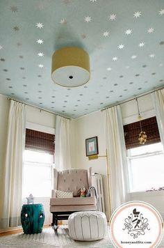 silver stars on ceiling, powder blue ceiling