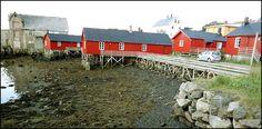 Rorbus of Ballstad, Lofoten. Les 'rorbus' sont des cabanes de pêcheurs construites sur pilotis au port de Ballstad, dans l'île de Vestvågøy. Le mot vient du norvégien ror, ramer sur un bateau, et bu qui veut dire vivre. Ce sont des abris pour les pêcheurs à l'aviron. Elles ont été ensuite réaménagées  pour les louer contre une part du poisson ; le bourgeois s'occupait accessoirement d'acheter toute la pêche à son prix, qu'il revendait selon ses intérêts.