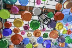 Cover the sun with plastic tubs - The Flea Market is a popular fair of used…