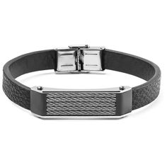West Coast Jewelry Black Leather and Stainless Steel Cable Inlayed ID Plate Bracelet, Men's