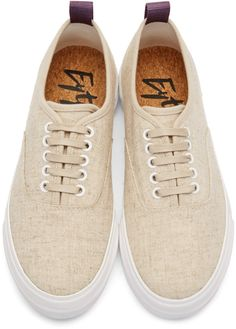 Eytys Beige Linen Mother Sneakers