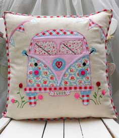 "Camper Van Pillow Cushion cover Cath Kidston Applique Birthday gift 16""x16"" £20.00"