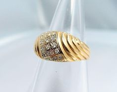 Attractive 18K solid gold fluted ring with 24 round-cut small from midwest-art-objects on Ruby Lane