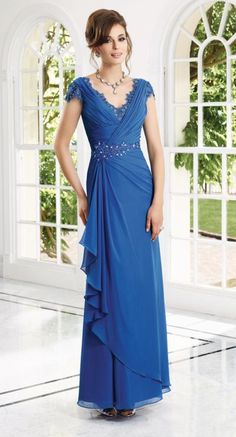 Check out the deal on VM Collection 70910 Cap Sleeve Draped MOB Dress at French Novelty