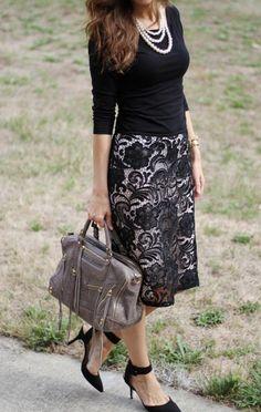 Black lace. Top  Skirt: H  M, Shoes: Zara, Bag: Rebecca Minkoff,   Necklace: Forever 21, Watch: MK, Bracelet: J.Crew