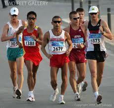 compete in a speed walking race