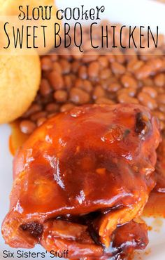 Slow Cooker Sweet BBQ Chicken Recipe | Six Sisters' Stuff