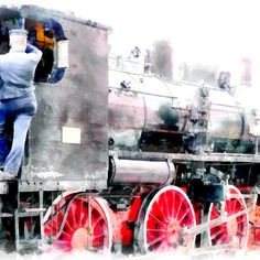 Rail workers on steam locomotive