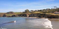 "The Porcía beach in Asturias, Spain - seen from the cliffs near the ""As Pontes"" islets."