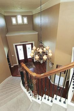 Wrought iron banisters and spiral staircase