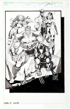 "marvel1980s: "" 1990 - Jim Lee X-Men Pin-up """