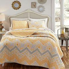 Full / Queen 3 Piece Geometric Sunset Oversized Cotton Quilt Coverlet Set